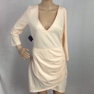 Nasty Gal Long Sleeve V-Neck Asymmetrical Dress M